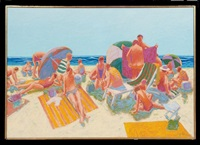 busy beach scene by william anzalone