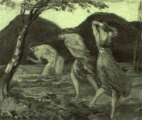 drei badende mädchen an einem gebirgssee by franz reinhardt the elder