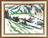 verschneite berglandschaft mit hütten by kilian lipp