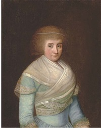 portrait of a lady in a blue dress with a white wrap, a pearl tiara in her hair (+ portrait of a gentleman in a green coat; pair) by franz conrad (francois) loehr