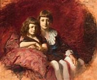ein bub und ein mädchen auf kissen vor roter samtwand by gyula glatter
