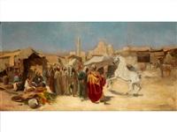 arabischer markt mit vorführung eines araber-schimmelhengstes by tadeusz ajdukiewicz