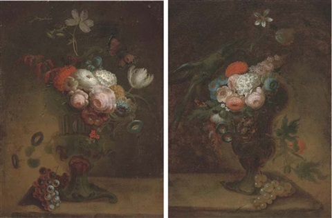 flowers in an urn with a parrot (+ flowers in an urn with a butterfly; pair) by jan frans van dael