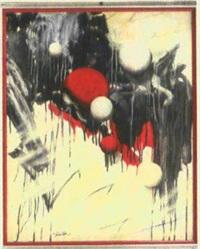 verlaufendes schwarz (abstrakte komposition mit roten und weißen kugeln) by konrad peter