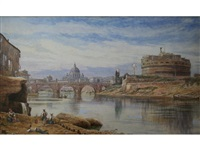 castle and bridge of st. angelo, rome by john whitacre allen