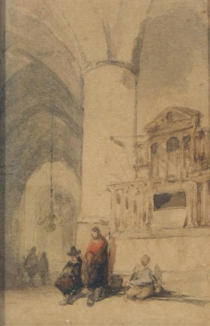 figures in a church interior by johannes bosboom