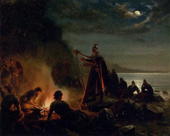 vikinger på stranden den gamle skjald underholder by niels anker lund