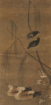 ducks, magpies, and willow tree by chinese school (17)