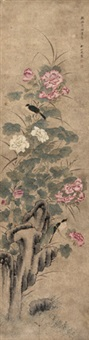 芙蓉翠鸟 立轴 纸本 by liu rushi