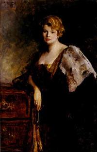 portrait einer eleganten dame, an einer barocken kommode lehnend by john quincy adams