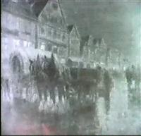 abendliches markttreiben an der hauptstatter strasse in   stuttgart mit pferdewagen und figurenstaffage by richard herdtle