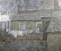 house and washing line (+ untitled (sketch), pencil; 2 works) by david haughton