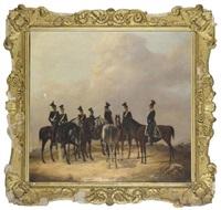 a group of officers on horseback, a battle beyond (eine gruppe berittener offiziere, eine schlacht im hintergrund) by s. von rundstedt