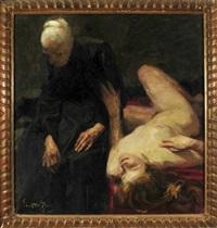 liegender, weiblicher akt greift altes mütterchen neben sich fragend am arm by gyula glatter