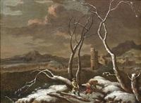winterlandschaft mit figuren, die reisig sammeln by robert griffier