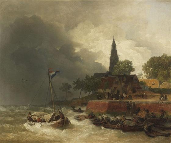 holländischer hafen bei sturm by andreas achenbach