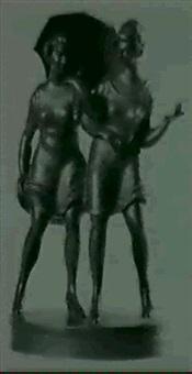 zwei mädchen mit regenschirm by franta (frantisek) anyz
