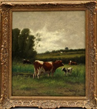 cattle grazing in a field by william frederick hulk