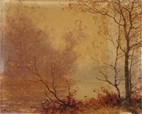 bord de rivière bordé d'arbres by albert gabriel rigolot