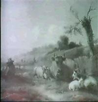baumbestandene hugellandschaftmit rastender kuh, umgeben vonschaf und ziegen, links auf einem grashang sitzt ein...... by adrianus hoevenaar