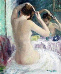 nude brushing her hair by marguerite aers