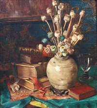 stillife with flowers and books by willem elisa roelofs