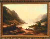 ideallandschaft mit einem von bergen umgebenen see und staffage by arnold forstmann