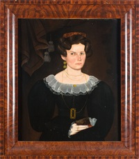 portrait of a young woman holding a book by sheldon peck