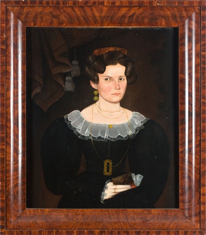 Portrait Of A Young Woman Holding A Book By Sheldon Peck On