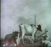 zwei kuhe und zwei schafe auf einem wiesenstuck vor einem  plankenzaun by adrianus hoevenaar