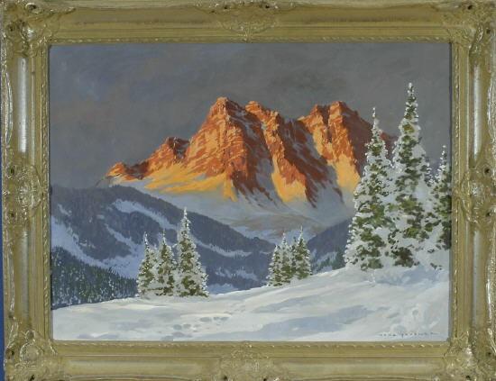 winterliche tannen mit alpenglühen im hintergrund by hans grabner