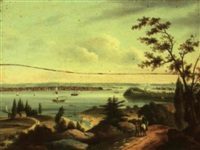 view of new york harbor... by charles caleb ward
