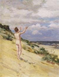 nackter jüngling am strand von usedom by hermann moest