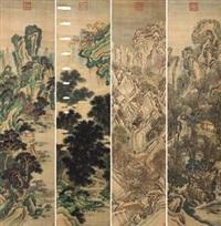 四季山水 (in 4 parts) by qian weicheng