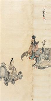 仿陈老莲人物 立轴 纸本 by ren xiong