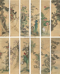 花鸟 (flowers and birds) (in 12 parts) by que lan