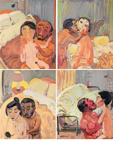 抱着你 (共四幅) 4 works by shen ling