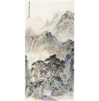 青山佳处绝尘埃 (pine trees in verdant mountains) by luo buzhen