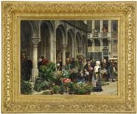 blomstermarknad i brabant på-talet-talet by georg von rosen