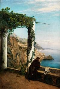 mönch an der küste von amalfi by heinrich gogarten