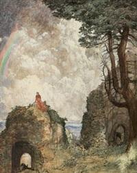auf den ruinen der burg altenstein sitzende rot gekleidete dame by hans adolf buhler
