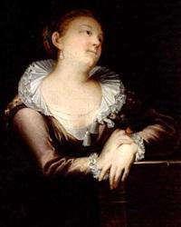 skuespillerinde jomfru marie schmidt som dyveke med papegoje på armen by herman koefoed