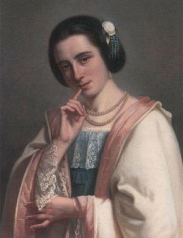 porträt einer jungen italienischen schönheit im spitzenkleid by johan hendrik jan koelman