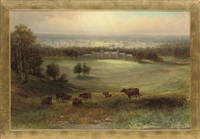 cattle on a hillside, a country house in the distance by samuel lawson booth