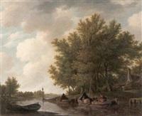 sommerliche flußlandschaft mit kate und plattbodenschiffen by adrianus van der koogh