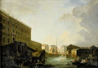 utsikt mot stockholms slott och norrström med mynttorget i fonden by pierre joseph frère