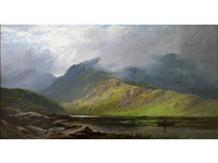 extensive scottish landscape with fisherman by george blackie sticks