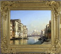 canale grande in venedig - blick von der ponte dell accademia auf die santa maria della salute, links der pallazzo franchetti by julius edward w. helfft