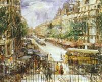 gadeparti fra paris med talrige personer og biler by a. may hoop