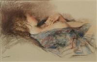 model in a blue kimono by jan asselbergs